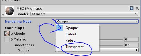 Mettre le personnage du cours Unity3D en transparant pour les textures