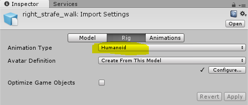 Animation humanoide du model du cours Unity3d