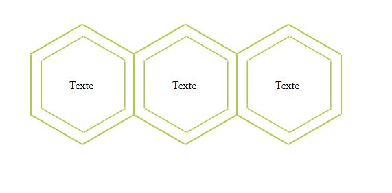 3 hexagons with html and css